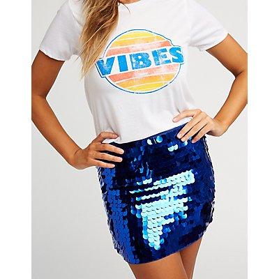 Circle Sequin Mini Skirt