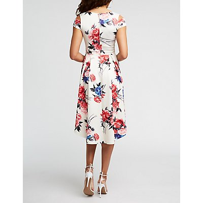 Floral Hi Low Cold Shoulder Dress