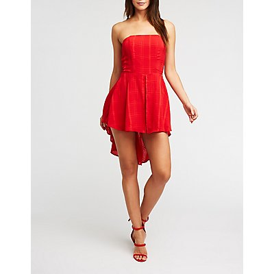 Strapless High Low Romper