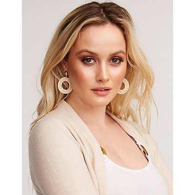 Straw Oval Drop Earrings