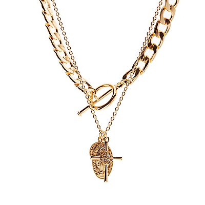 Cross Pendant Layered Necklace