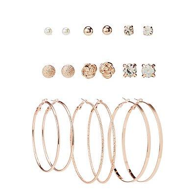 Assorted Stud & Hoop Earrings - 9 Pack