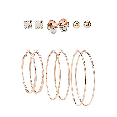 Assorted Stud & Hoop Earrings - 6 Pack