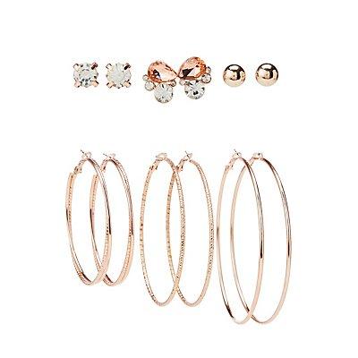 Assorted Stud & Hoop Earrings - 6 Pack