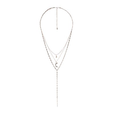 Crescent Layered Lariat Necklace