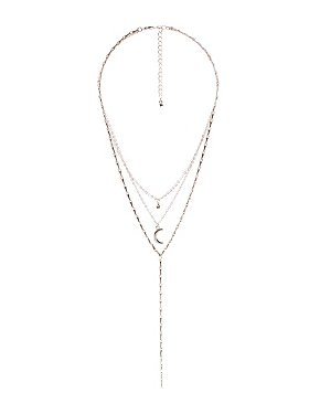 Crescent Layered Lariat Necklace
