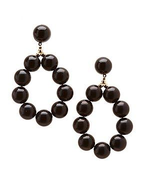 Beaded Oval Drop Earrings
