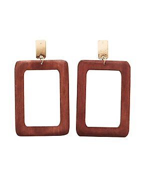 Faux Wood Geometric Earrings
