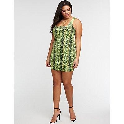 Plus Size Snake Print Bodycon Dress