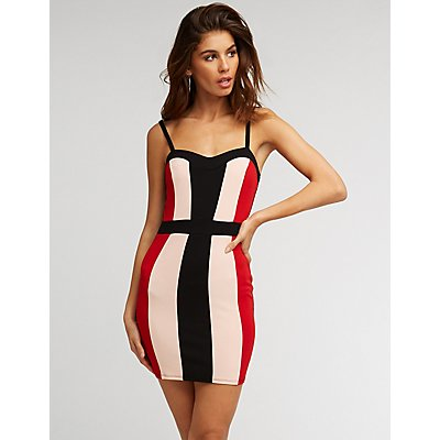 Colorblock Sweetheart Bodycon Dress