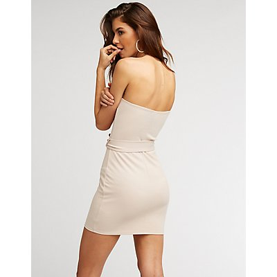Strapless Belted Bodycon Mini Dress