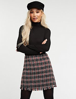Tweed Fringe Mini Skirt