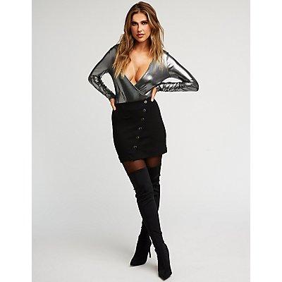 Asymmetrical Snap Front Mini Skirt