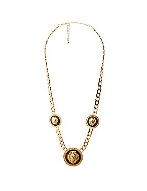 Lion Head Pendant Chainlink Necklace