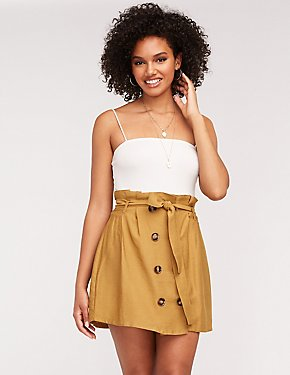 Paperbag Self Tie Button Up Skirt