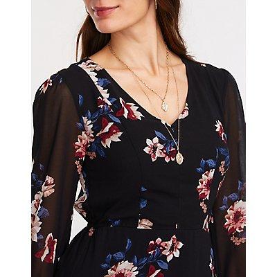 Floral Chiffon V Neck Dress