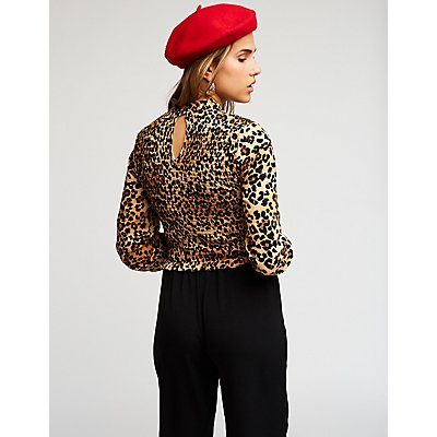 Cheetah Print Smocked Top