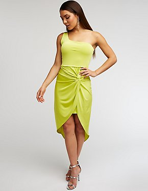 One Shoulder Wrap Bodycon Dress