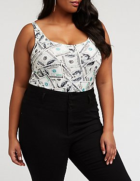 Plus Size Money Print Bodysuit