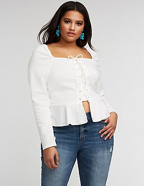 Plus Size Square Neck Lace Up Peplum Blouse