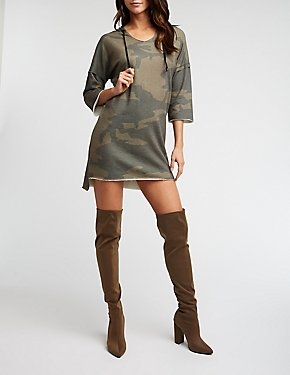 Camo Raw Edge Hooded Dress