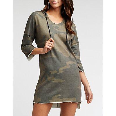 Camo Raw Edge Hooded Dress