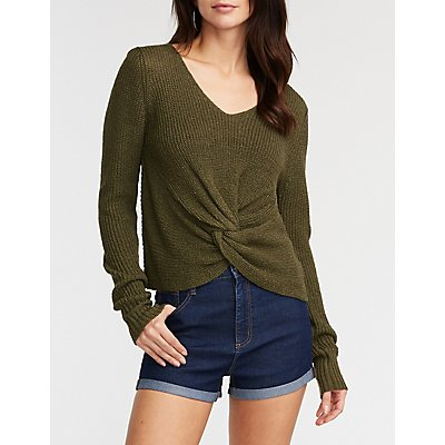 V Neck Front Twist Pullover Sweater
