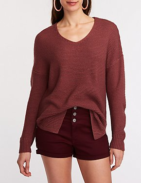 V Neck Tunic Pullover Sweater