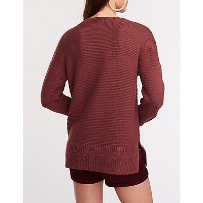 V Neck Tunic Pullover Sweater
