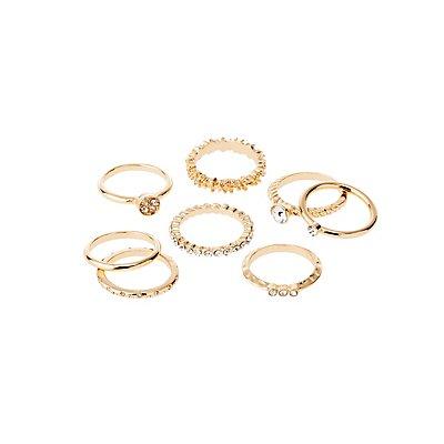 Metal Stacking Rings - 8 Pack