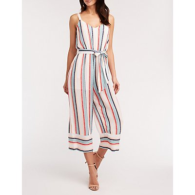Striped V Neck Self Tie Jumpsuit