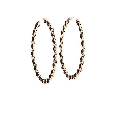 Ribbon Threaded Hoop Earrings