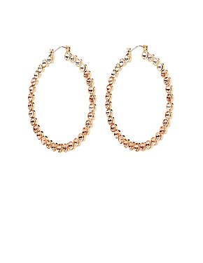 Circle Stone Hoop Earrings