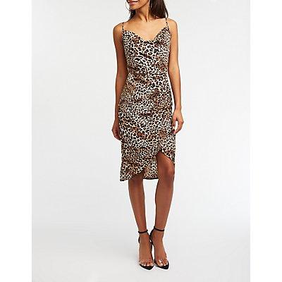 Leopard Print Cowl Neck Dress