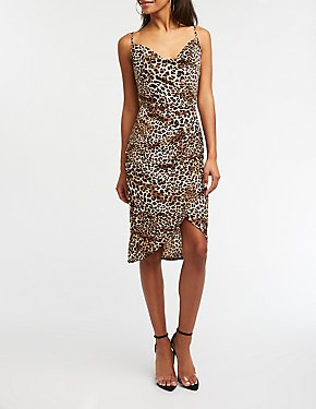 Leopard Print Cowl Neck Dress