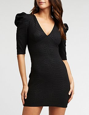 Crocodile Pattern Puff Sleeve Dress