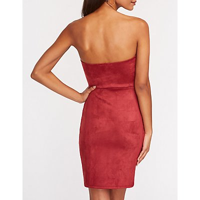 Faux Suede Wrap Mini Bodycon Dress