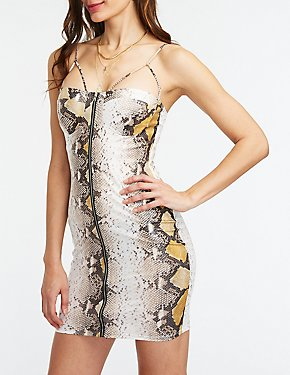 Snakeskin Print Bustier Bodycon Dress