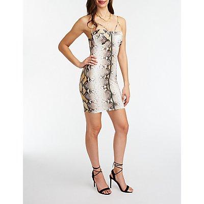 Snakeskin Print Bustier Bodycon Dress
