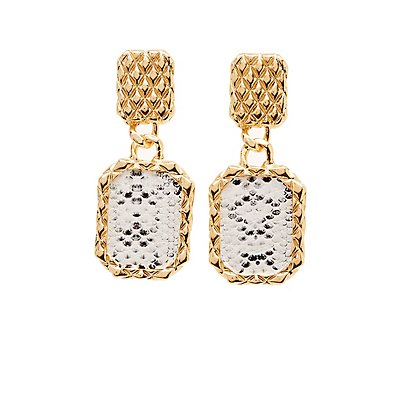 Square Snakeskin Drop Earrings