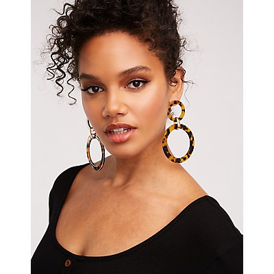 Resin Circle Drop Earrings