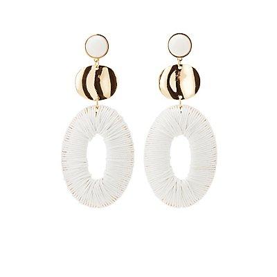 Oval Knit Drop Earrings