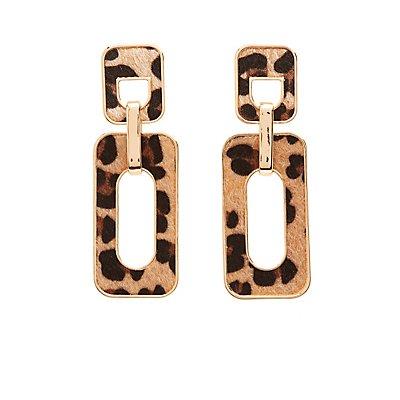 Leopard Rectangle Drop Earrings