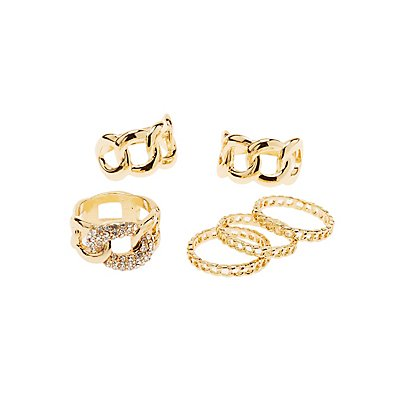 Crystal & Textured Stackable Rings - 6 Pack