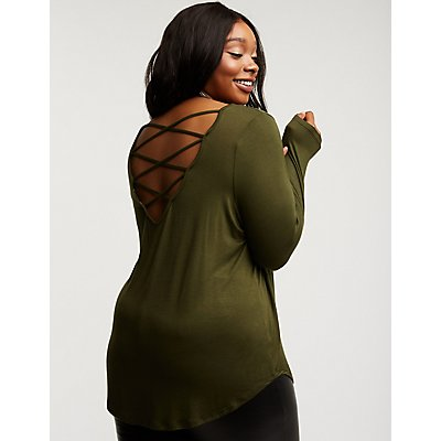 Plus Size Caged Back Tee