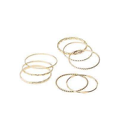 Stackable Bangle Bracelets - 8 Pack