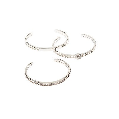 Crystal & Textured Cuff Bracelets - 3 Pack
