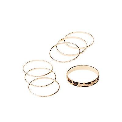 Textured & Leopard Bangle Bracelets - 7 Pack