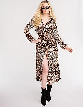 Leopard Print Maxi Kimono
