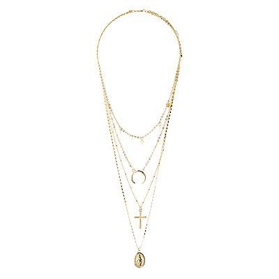 Cross & Pendant Layered Necklace